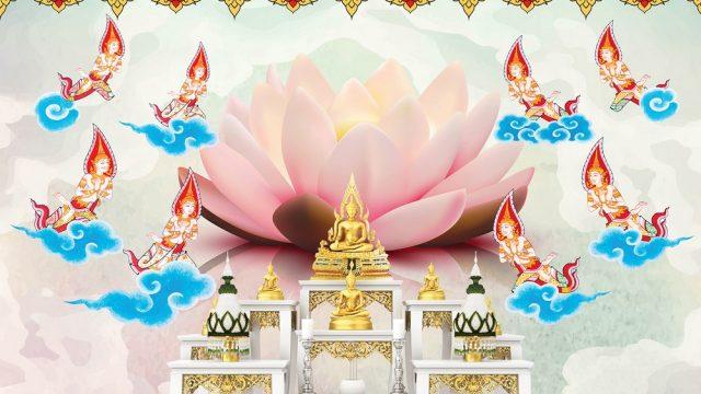 วอเปอร์เปอร์สวยๆ พรีเมี่ยมลายไทย ลายดอกบัว เทพพนม