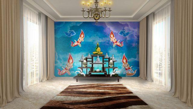 แต่งบ้านสวยด้วยวอลเปเปอร์ติดผนัง พรีเมี่ยมลายไทย เทพพนม