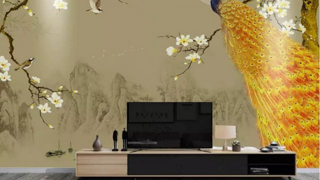 วอเปอร์เปอร์สวยๆติดผนัง ภาพมงคลเรียกทรัพย์ ติดห้องรับแขกวอลเปเปอร์แบบสั่งพิมพ์ ลายนกยูง ตกแต่งภายในบ้านหรู