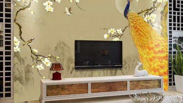 ติดวอลเปอร์สวย ภาพมงคลแต่งบ้าน ติดห้องรับแขก วอลเปเปอร์สั่งพิมพ์ตามแบบ ลายนกยูง ตกแต่งภายในบ้านหรู