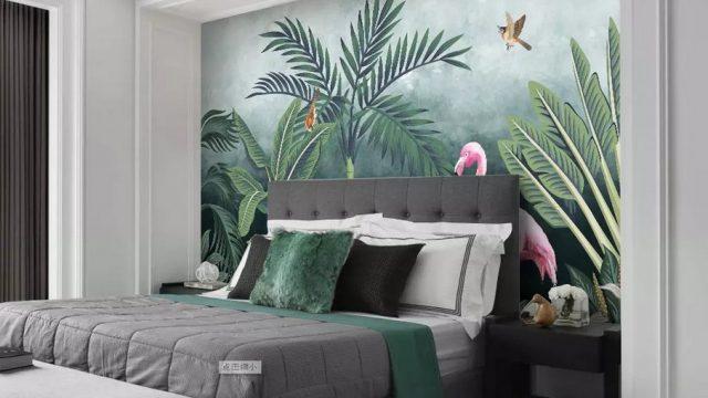 วอเปอร์เปอร์ผนัง ลาย tropical นกฟลามิงโก้ในป่าดงดิบ สีชมพู ติดผนังห้องนอน