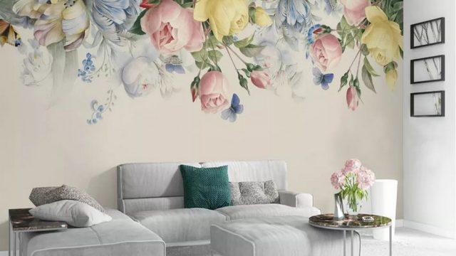 วอเปอร์เปอร์สวยๆ ลายดอกกุหลาบและดอกไม้สวยๆ ติดผนังห้องรับแขก