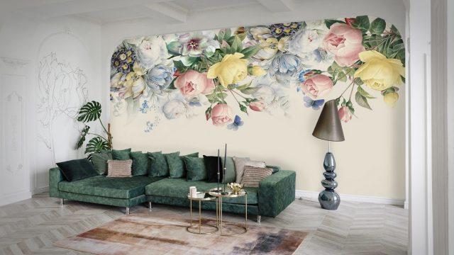 ขายวอลเปเปอร์สวยราคาถูก ลายดอกกุหลาบและดอกไม้สวยๆ ติดผนังห้องรับแขก