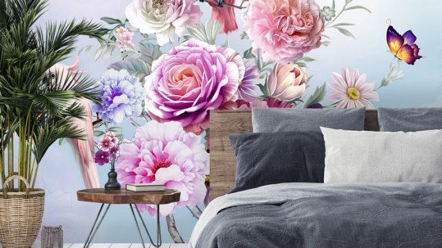 วอเปอร์เปอร์ผนัง ลายสวนดอกไม้สไตล์อังกฤษ ติดผนังห้องนอน