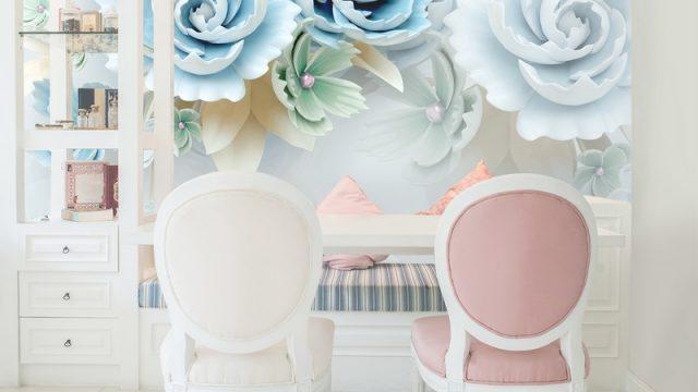 วอเปอร์เปอร์สวยๆ ดอกไม้3Dขาวฟ้า ติดผนังห้องรับแขก
