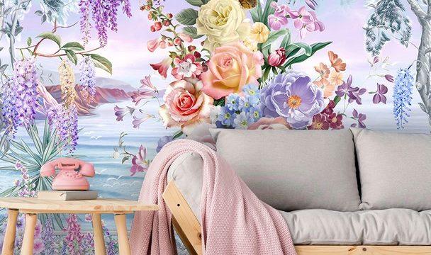 ขายวอลเปเปอร์สวยราคาถูก ลายภาพวาดสวนดอกไม้ริมทะเล ติดผนังห้องรับแขก