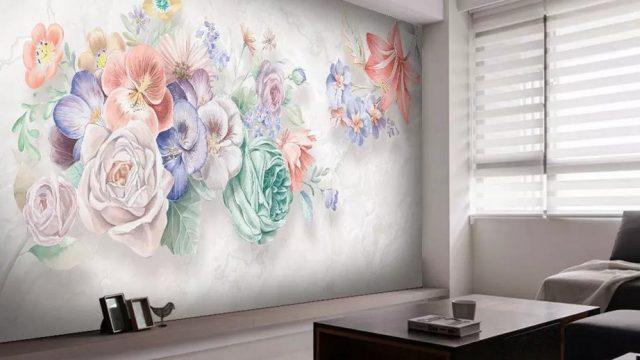 วอเปอร์เปอร์สวยๆติดผนัง ลายภาพวาดดอกไม้หลายสี3มิติ ติดผนังห้องนั่งเล่น