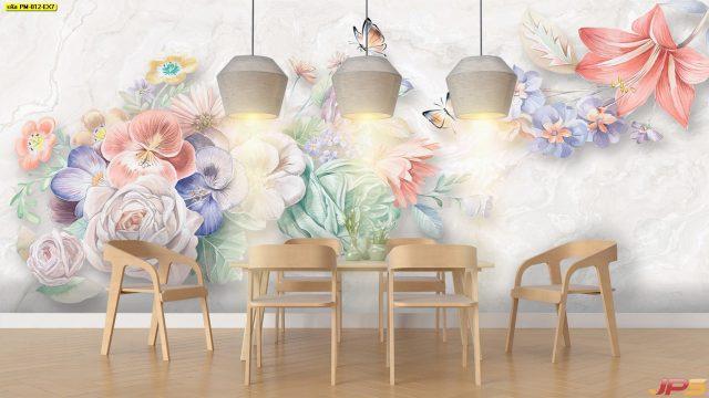 ร้านวอลเปเปอร์ ลายภาพวาดดอกไม้หลายสี3มิติ ติดผนังห้องรับประทานอาหาร