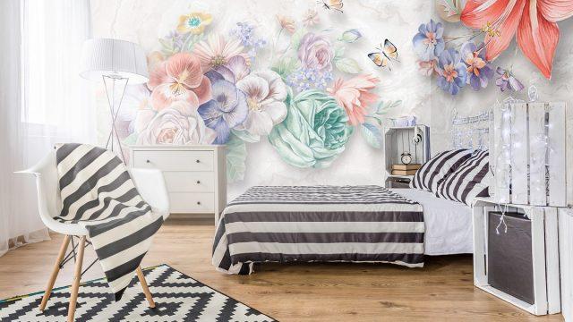 ร้านขายวอลเปเปอร์ ลายภาพวาดดอกไม้หลายสี3มิติ ติดผนังห้องนอน