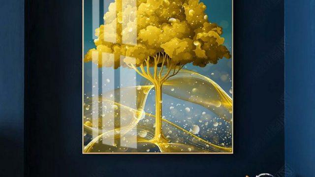วอเปอร์เปอร์สวยๆ ภาพมงคลติดห้อง กวางเรนเดียร์ชมจันทร์ กับ ต้นไม้สีทอง ติดผนังห้องนั่งเล่น
