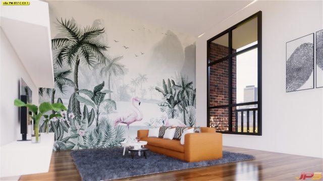 Wallpaper สั่งทำราคาถูก ลายนกฟลามิงโก้สวนป่า ติดผนังห้องนั่งเล่น