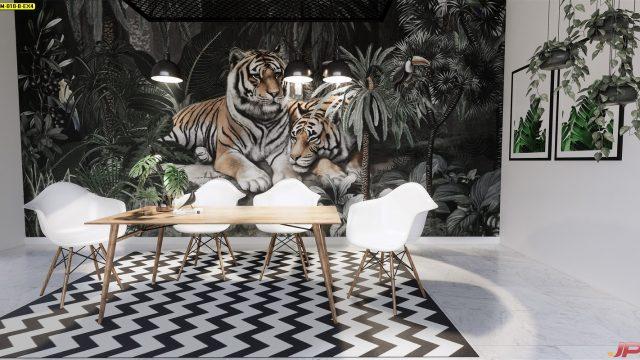 ตกแต่งห้องด้วยวอลเปเปอร์ ลายสวนป่าเสือโคร่ง ติดผนังห้องรับประทานอาหาร