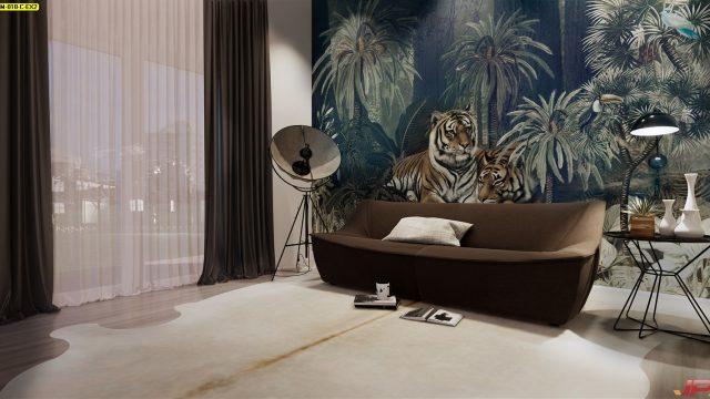 ขายวอลเปเปอร์สวยราคาถูก ลายสวนป่าเสือโคร่ง ติดผนังห้องนั่งเล่น