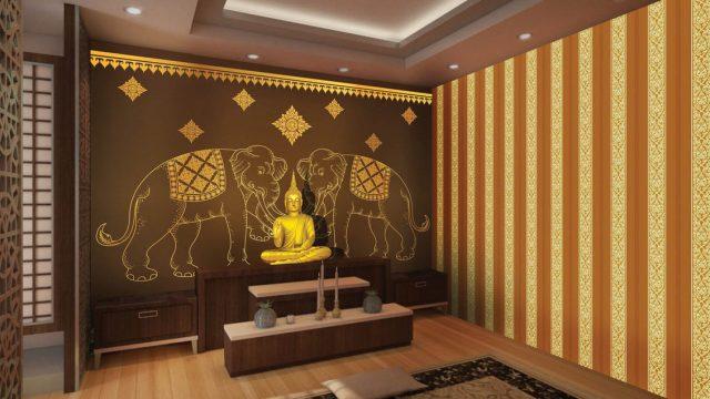 บริการตกแต่งผนังห้องพระ ลายไทยช้างคู่สีทอง พื้นหลังสีน้ำตาล
