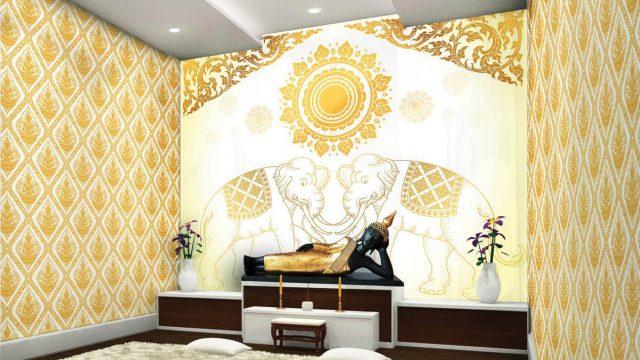 บริการตกแต่งผนังห้องพระ ลายไทยช้างคู่ ลายกนกเทพพนม พื้นหลังสีขาวทอง