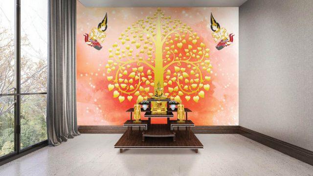 ขายวอลเปเปอร์สวยราคาถูก ลายไทยเทพพนม ต้นโพธิ์ทอง พื้นหลังสีส้มแดง