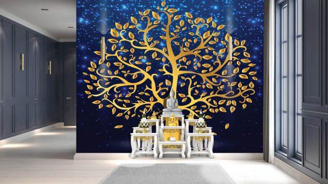 ร้านวอลเปเปอร์ ลายไทยต้นโพธิ์ทอง พื้นหลังสีน้ำเงิน
