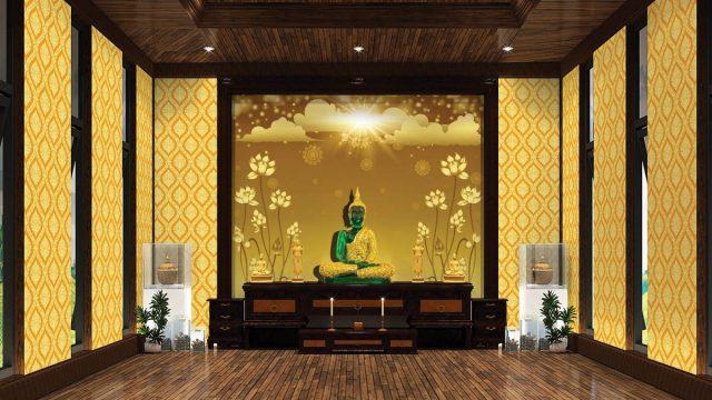 บริการตกแต่งผนังห้องพระ ลายไทยดอกบัวทอง ลายพุ่มข้าวบิณฑ์ พื้นหลังสีทอง