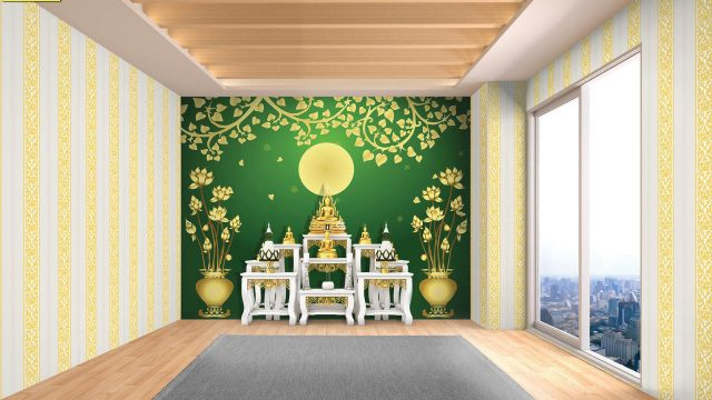 ขายวอลเปเปอร์ ลายไทยดอกบัวทอง ลายใบโพธิ์ทองพื้นสีเขียว ลายกนกไขว้ช่อหางโตขาวทอง