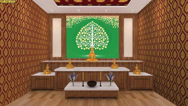 แต่งบ้านสวยด้วยวอลเปเปอร์ติดผนัง ลายไทยต้นโพธิ์ใบโพธิ์สีทอง พื้นหลังสีเขียว