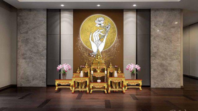 แต่งห้องพระด้วยภาพดอกบัว วอลเปเปอร์สิริมงคล ไอเดียห้องพระสีน้ำตาล