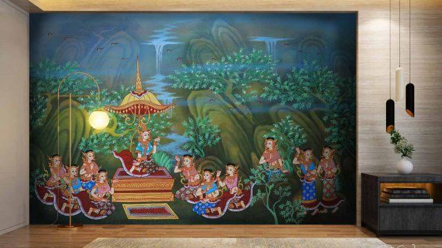 แต่งผนังบ้านด้วยภาพจิตรกรรมไทย สั่งออกแบบวอลเปเปอร์ติดผนัง วอลเปเปอร์แต่งบ้าน