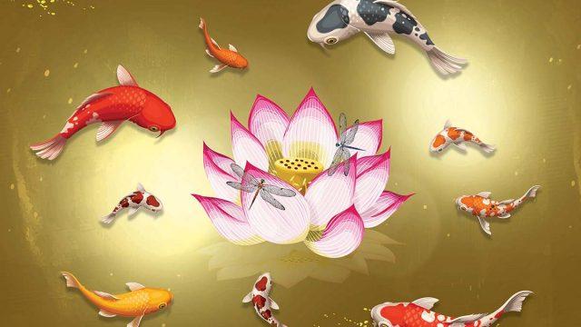 สั่งพิมพ์ภาพฮวงจุ้ย วอลเปเปอร์ลายสีทอง วอลเปเปอร์แต่งร้าน