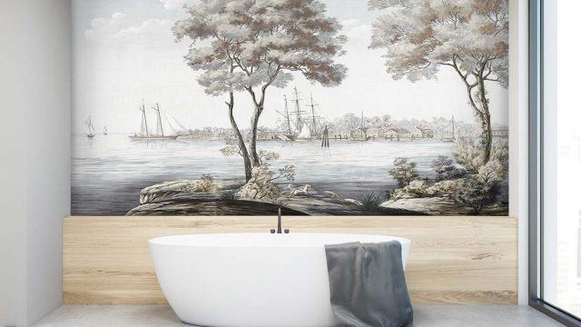 วอลเปเปอร์สวยหรู ไอเดียผนังห้องน้ำ ภาพกราฟฟิกสวยๆ